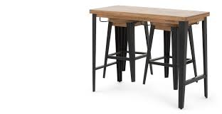 Black Bar Table Darby Bar Table And Stools Set Mango Wood And Black Made