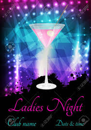 pink martini ladies night or party poster template with glass of pink martini