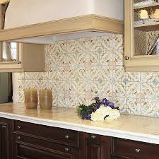beige kitchen style ideas with brown floral stencil moroccan tile
