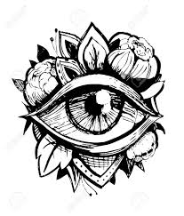 all seeing eye tatto sketch vector illustration stock photo