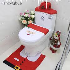 Bathroom Contour Rug Three Style Santa Claus Toilet Seat Cover And Rug Bathroom Set