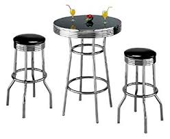 Kitchen Bar Table Sets by Amazon Com Retro 3 Piece Chrome Bar Stools And Table Set Kitchen