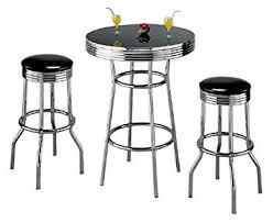 Amazoncom Retro Piece Chrome Bar Stools And Table Set Kitchen - Kitchen bar stools and table sets