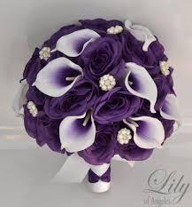 purple bouquets 17 package wedding bridal bouquet silk flowers bouquets