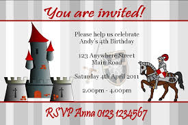 personalised knight on horse invitations