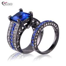 black and blue wedding rings blue cubic zirconia black plated women s black gold wedding ring