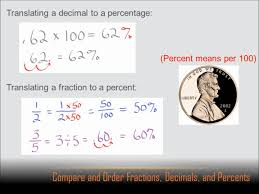 number sense compare and order fractions decimals and percents
