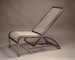 Metal Chaise René Herbst Nickel Plated Metal Deck Chair For Sale At 1stdibs