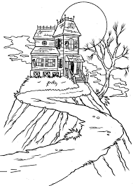 print free halloween coloring pages haunted house or download free