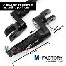 shinobi black adjustable front footpegs 25mm for triumph sprint st