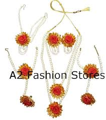 flower necklace set images Bridal gota flower jewelry set with pearls for haldi and etsy jpg