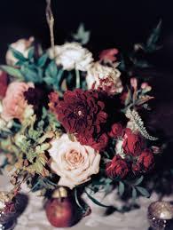 Burgundy Flowers Centerpiece With Blush And Burgundy Flowers Elizabeth Anne