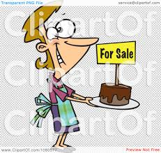clipart pleased bake sale woman holding out a cake royalty free