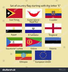 Flag Com Set Country Flag Starting Letter E Stock Vektorgrafik 434729389