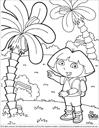 dora the explorer coloring page dora pointing out the palm trees