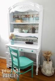 broyhill hutch desk refreshed with removable wallpaper prodigal