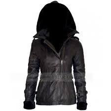 hooded motorcycle jacket emma swan leather jacket black shearling jacket