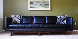 found mid century modern black u201cleather u201d sofa the gathered home