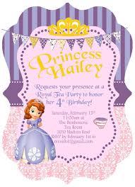 5x7 disney princess sofia the first birthday invitation