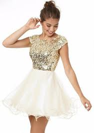 short sleeves lovely mini party dresses puffy organza cheap gold