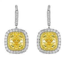 diamond earrings sale cert yellow cushion cut diamond earrings for sale at 1stdibs