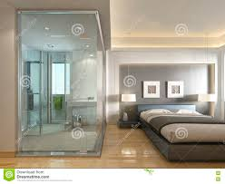 a luxury hotel room in a contemporary design with glass bathroom