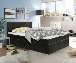 boxspringbett sebastina 140x200 schwarz inkl topper und matratze