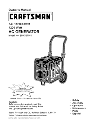 craftsman portable generator 580 327141 user guide manualsonline com