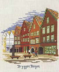 bryggen bergen cross stitch kit by permin of copenhagen