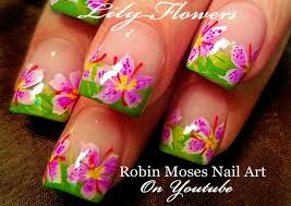 diy lily flower nail art fun floral nails design tutorial youtube