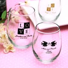 stemless wine glasses wedding favors personalized stemless wine glasses glass favors