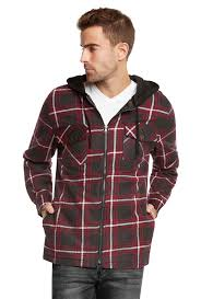 9 crowns mens quilted lightweight plaid flannel hoodie jacket ebay