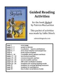 reading worksheets for book skylark by patricia maclachlan tpt