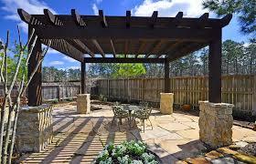 rustic patio with trellis u0026 wood pergola in the woodlands tx