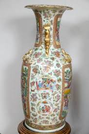 Large Wood Floor Vase Pair Of Large 19th Century Chinese Cantonese Floor Vases On Carved