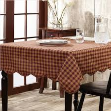dining room table cloths burgundy check u0026 star scalloped table cloth 60