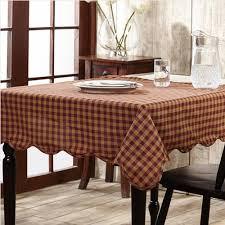burgundy check u0026 star scalloped table cloth 60