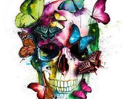 skull butterfly etsy