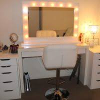 bathroom white wooden dresser table with lighted mirror plus