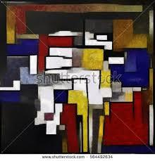 cubism colours dogs primitive cubism minimalist story stock illustration