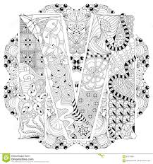 mandala with letter m for coloring vector decorative zentangle
