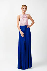 two tone convertible bridesmaid dress blush pink and royal blue