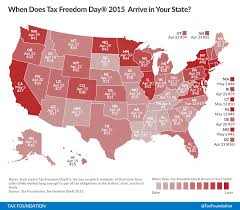 Red State Map by When Will Your State Reach Tax Freedom Day In 2015 Tax Foundation
