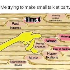 Small Talk Meme - small talk at a party spongebob filing know your meme