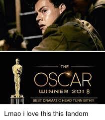 Oscars Meme - the oscar winner 2018 best dramatic head turn bith lmao i love