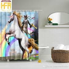 2018 bath curtain cat riding unicorn horse creative bathroom decor