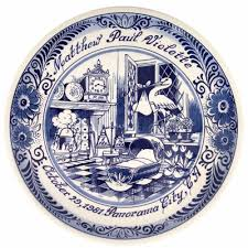 birth plates personalized delft blue birthplate family tree originals