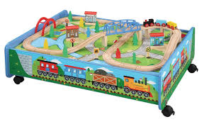 table top train set thomas friends compatible 62 piece wooden train set and table