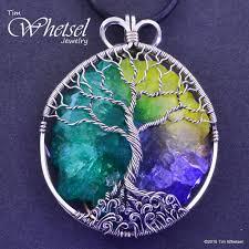 sterling silver tree of pendant solar quartz wire