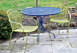 Iron Patio Table And Chairs Spray Painted Brightly Colored Wrought Iron Patio Furniture